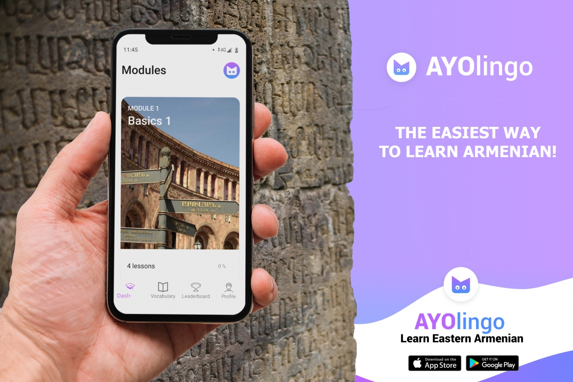 Alternative text (caption) AYOlingo (a play on the popular language-learning app, Duolingo) is a newly-launched free-to-use mobile application to learn Eastern Armenian, developed by Birthright Armenia. (Graphic: Birthright Armenia, 2019)