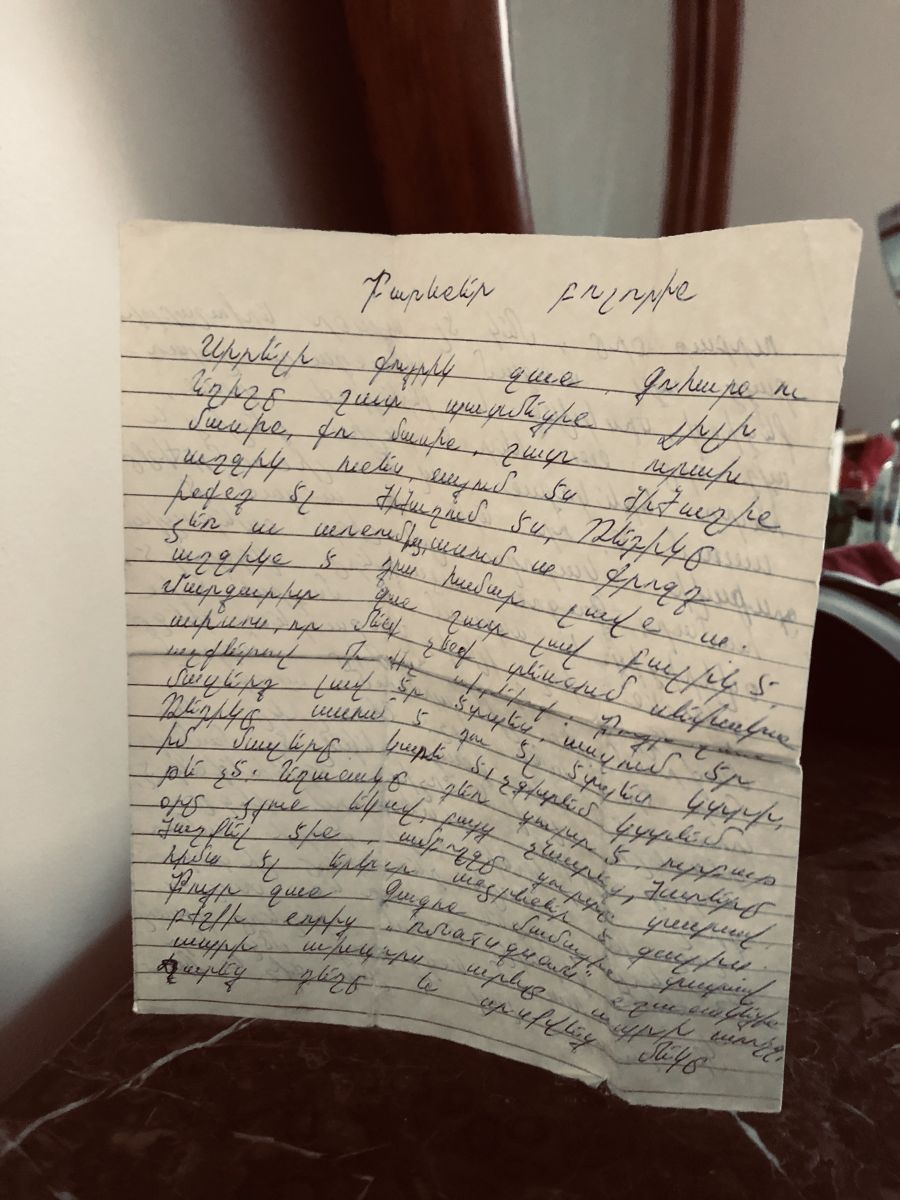 """""""Hellos to everyone:"""" A snapshot of Aunt Seda's letter on mom's dresser. (Photo courtesy of Lilly Torosyan)"""