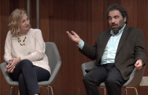 UCLA professors of Armenian language and literature, Shushan Karapetian (left) and Hagop Gulludjian (right), present their findings and expertise on teaching and revitalizing Western Armenian in the diaspora.