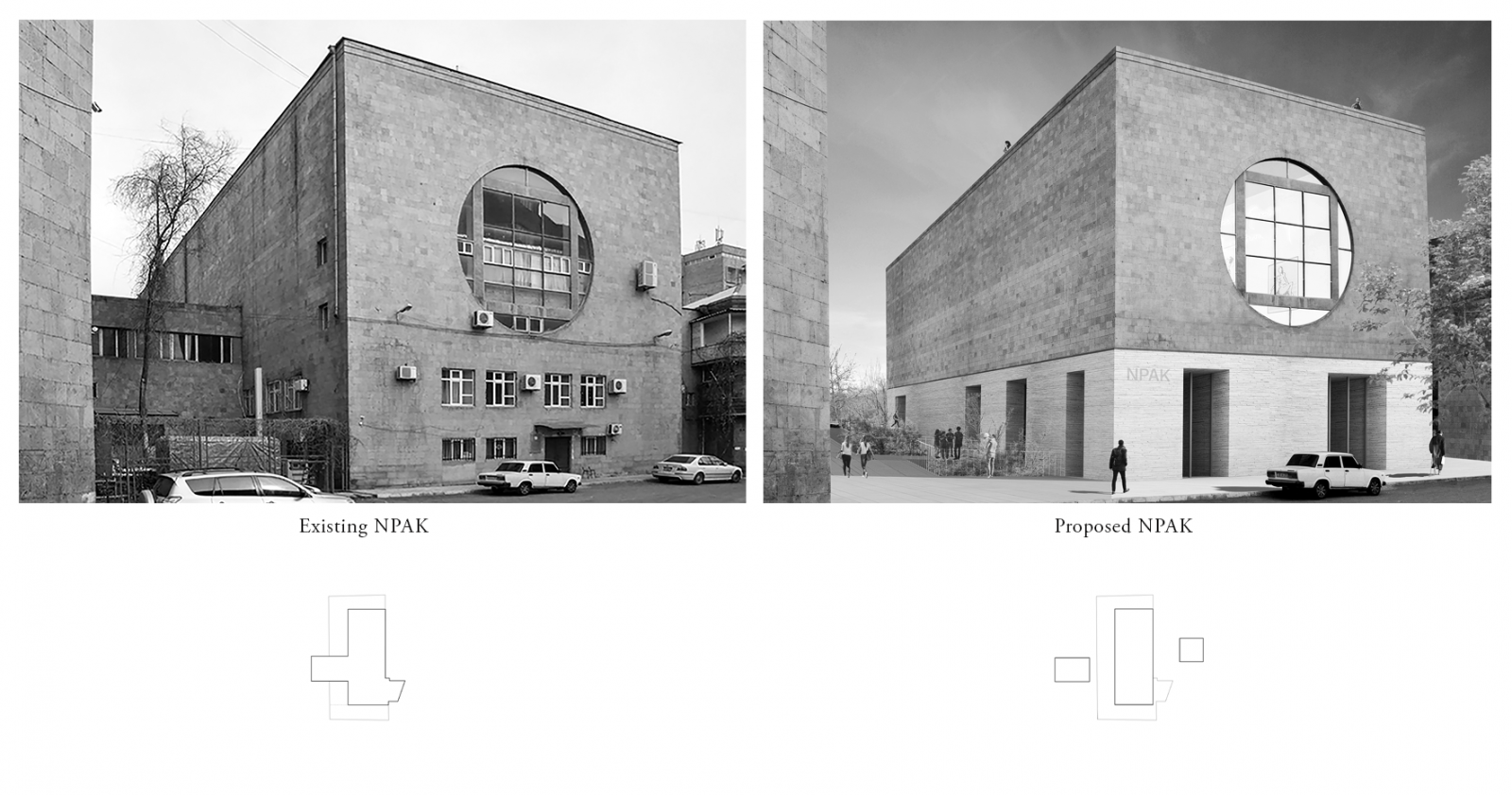 To the left is a view of NPAK as it is today; to the right, the proposal (Courtesy of Garine Boghossian, Garen Boghossian, Elisa Bosi, Gabriele Paravati)