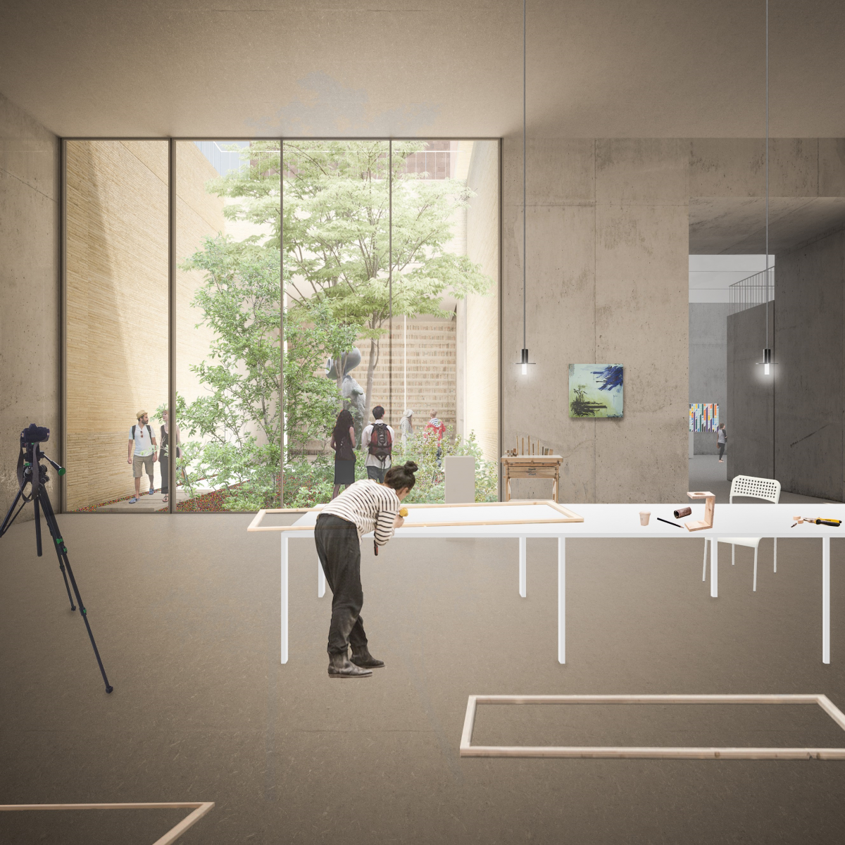 NPAK proposal - the view from the workshop space into a courtyard (Courtesy of Garine Boghossian, Garen Boghossian, Elisa Bosi, Gabriele Paravati)