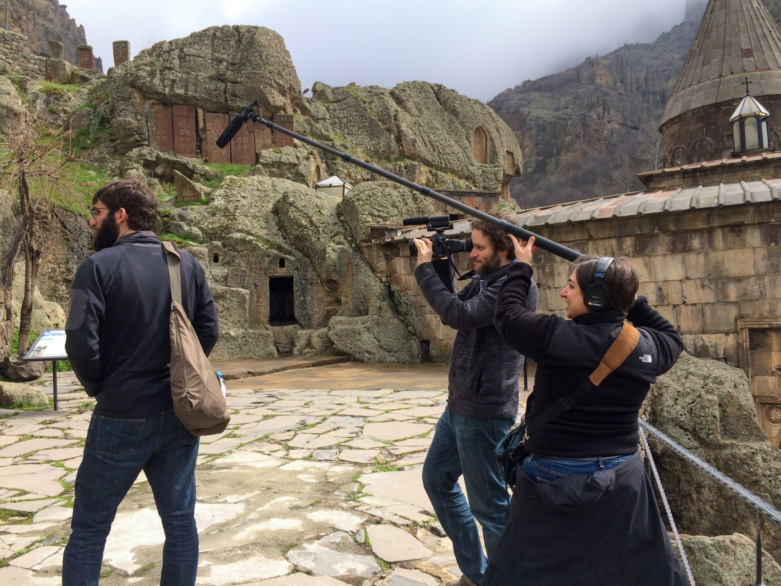 Crew Members Joseph Myers and Stephanie Ayanian film in Armenia with John Sweers. (Photo courtesy of Stephanie Ayanian)