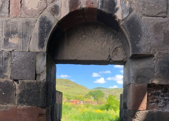 Peering outside the Cathedral of Talin