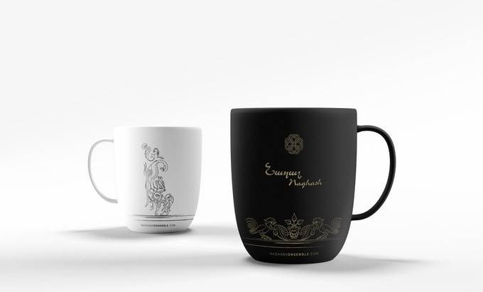 The Naghash Ensemble coffee mugs, available to those who contribute at least $200 to the Kickstarter campaign.