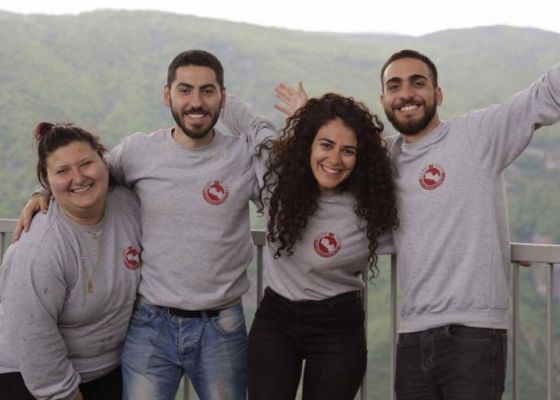 Birthright volunteers Sevan Rezian from Canada, Nareg Sarkissian from Lebanon, Sati Shirinian from Russia, and Caique Gudjenian from Brazil, 2018.